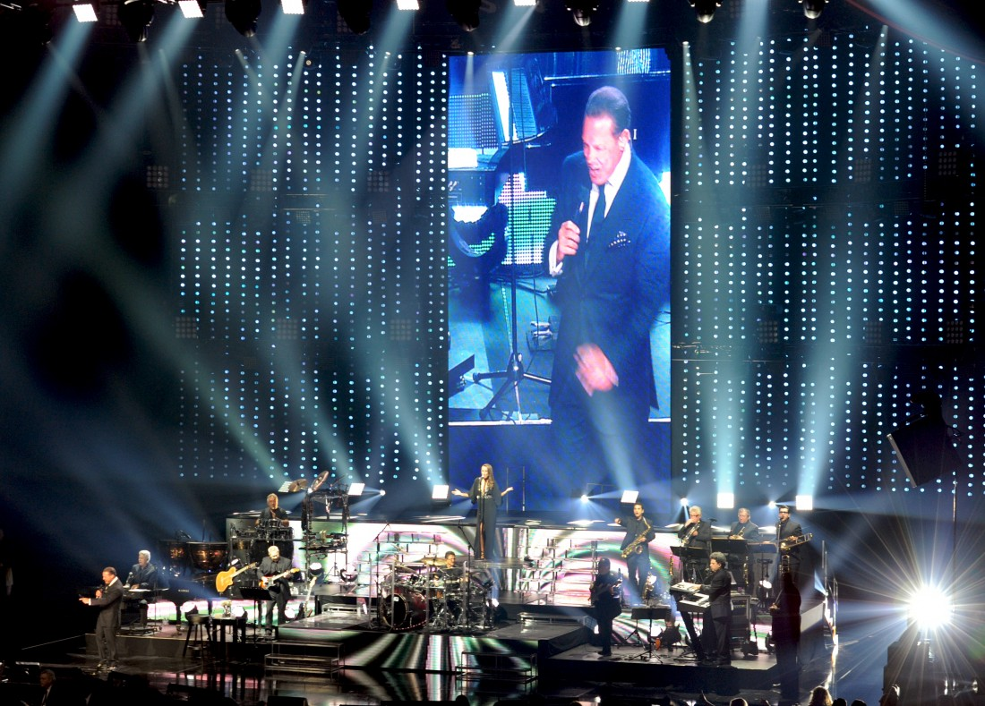 "In this photo provided by the Las Vegas News Bureau,  with five Grammy Awards and four Latin Grammy Awards ""El Sol de Mexico"" Luis Miguel takes the stage at Caesars Palace Colosseum during Mexican Independence Day weekend in Las Vegas. (Photo/ Las Vegas News Bureau, Glenn Pinkerton)"