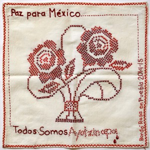 Tribute to the Disappeared_Borras_Rosa Pañuelo para los desaparecidos de Ayotzinapa_Embroidery_Mexico