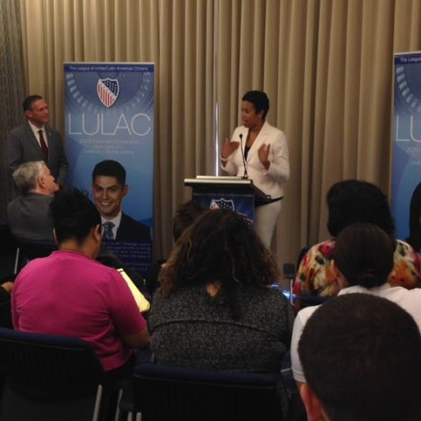 Mayor Muriel Bowser with LULAC Exec. Dir. Brent Wilkes.